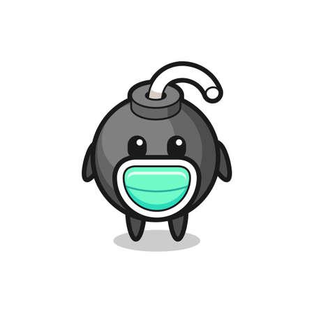 cute bomb cartoon wearing a mask , cute style design for t shirt, sticker, logo element Logos