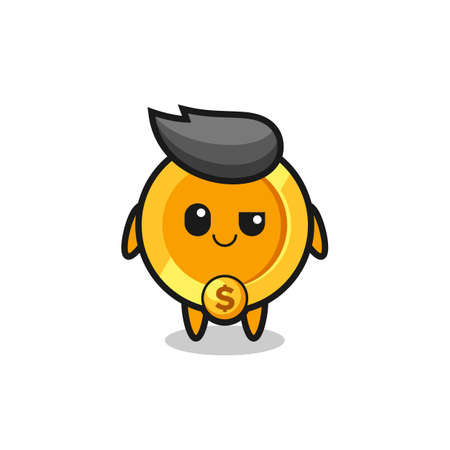 dollar currency coin cartoon with an arrogant expression , cute style design for t shirt, sticker, logo element