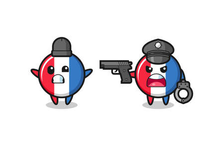 illustration of france flag badge robber with hands up pose caught by police , cute style design for t shirt, sticker, logo element Logo