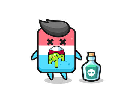 illustration of an eraser character vomiting due to poisoning , cute style design for t shirt, sticker, logo element