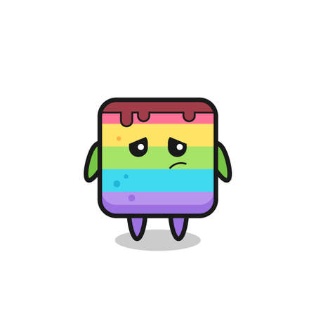 the lazy gesture of rainbow cake cartoon character , cute style design for t shirt, sticker, logo element Logo