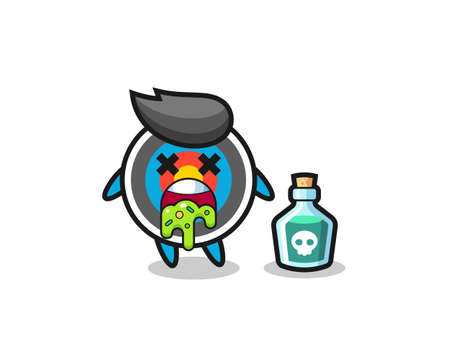 illustration of an target archery character vomiting due to poisoning , cute style design for t shirt, sticker, logo element Logo