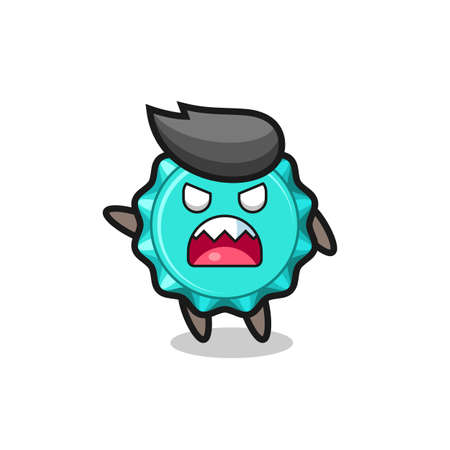cute bottle cap cartoon in a very angry pose , cute style design for t shirt, sticker, element Vektorgrafik