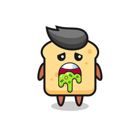 the cute bread character with puke , cute style design for t shirt, sticker, element
