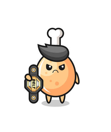 fried chicken mascot character as a MMA fighter with the champion belt , cute style design for t shirt, sticker, element