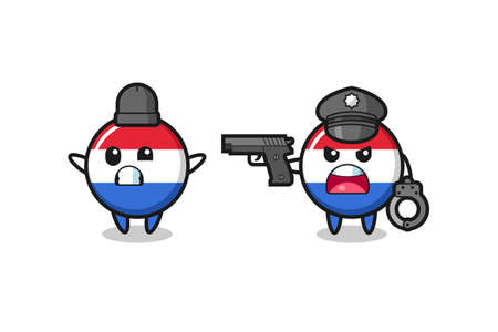 illustration of netherlands flag badge robber with hands up pose caught by police , cute style design for t shirt, sticker, element