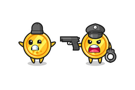 illustration of medal robber with hands up pose caught by police , cute style design for t shirt, sticker, element