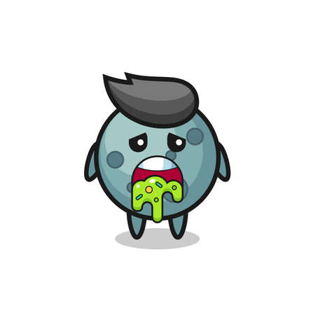 the cute asteroid character with puke , cute style design for t shirt, sticker, logo element
