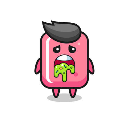 the cute bubble gum character with puke , cute style design for t shirt, sticker, logo element
