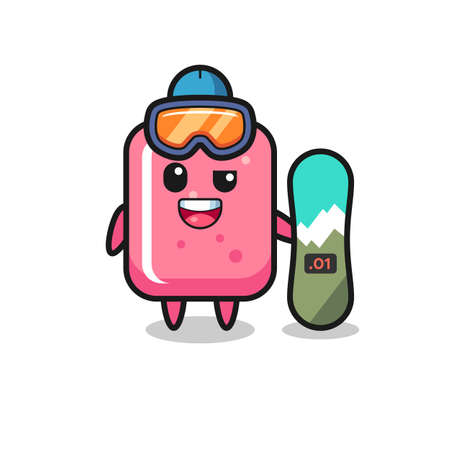 Illustration of bubble gum character with snowboarding style , cute style design for t shirt, sticker, logo element Logó