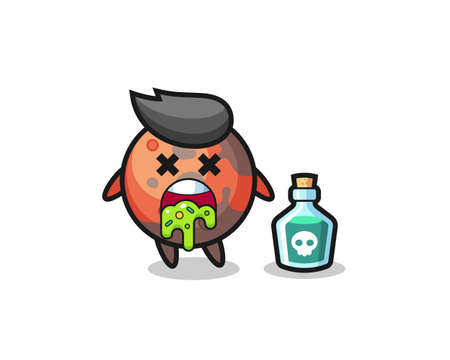 illustration of an mars character vomiting due to poisoning , cute style design for t shirt, sticker, logo element