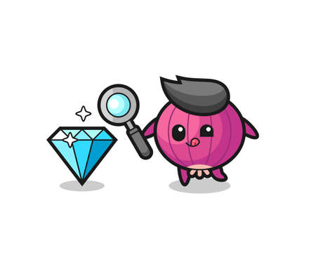 onion mascot is checking the authenticity of a diamond , cute style design for t shirt, sticker, logo element