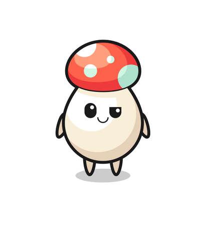 mushroom cartoon with an arrogant expression , cute style design for t shirt, sticker, logo element Logos