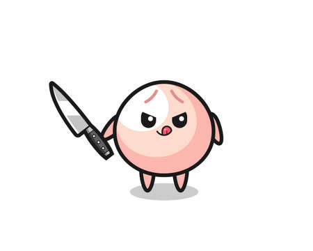 cute meatbun mascot as a psychopath holding a knife , cute style design for t shirt, sticker, logo element Logo