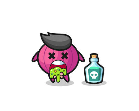 illustration of an onion character vomiting due to poisoning , cute style design for t shirt, sticker, logo element