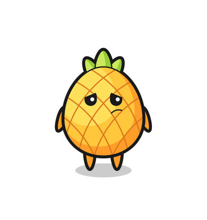 the lazy gesture of pineapple cartoon character , cute style design for t shirt, sticker, logo element