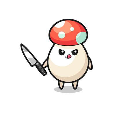 cute mushroom mascot as a psychopath holding a knife , cute style design for t shirt, sticker, logo element