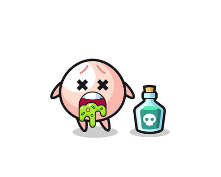 illustration of an meatbun character vomiting due to poisoning , cute style design for t shirt, sticker, logo element Logo