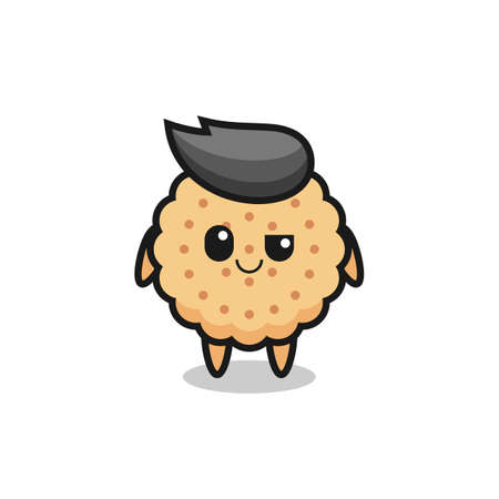 round biscuits cartoon with an arrogant expression , cute style design for t shirt, sticker, logo element Logos