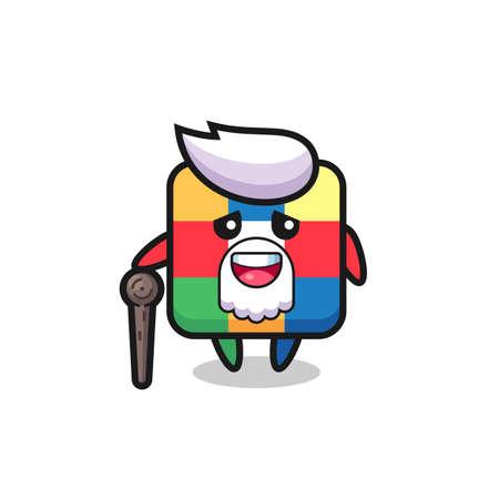 cute rubik cube grandpa is holding a stick , cute style design for t shirt, sticker, logo element Logo
