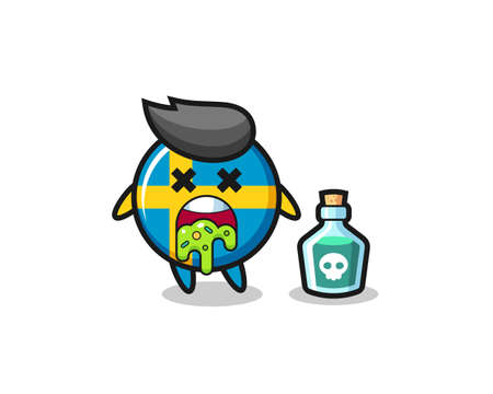 illustration of an sweden flag badge character vomiting due to poisoning , cute style design for t shirt, sticker, logo element