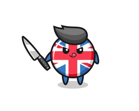 cute united kingdom flag badge mascot as a psychopath holding a knife , cute style design for t shirt, sticker, logo element