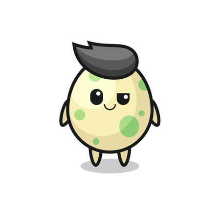 spotted egg cartoon with an arrogant expression , cute style design for t shirt, sticker, logo element Logos