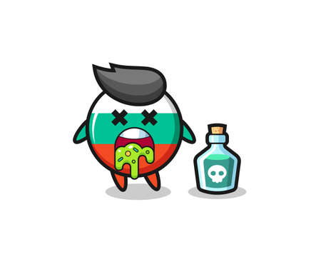 illustration of an bulgaria flag badge character vomiting due to poisoning , cute style design for t shirt, sticker, element
