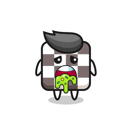 the cute chess board character with puke , cute style design for t shirt, sticker, element