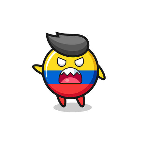 cute colombia flag badge cartoon in a very angry pose , cute style design for t shirt, sticker, element