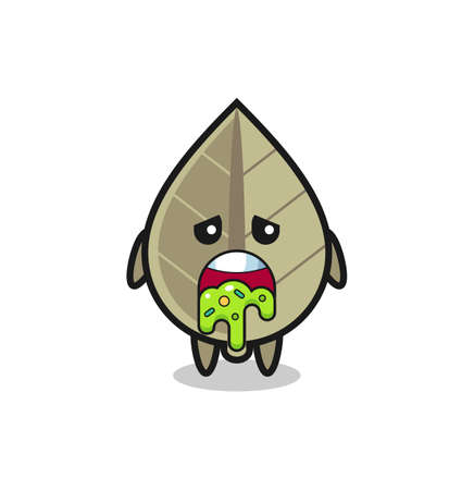 the cute dried leaf character with puke , cute style design for t shirt, sticker, element Vector Illustratie