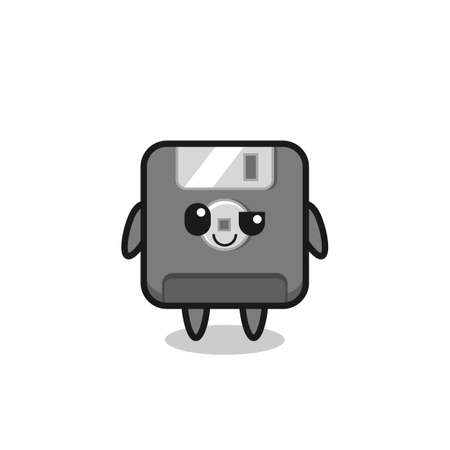 floppy disk cartoon with an arrogant expression , cute style design for t shirt, sticker, element