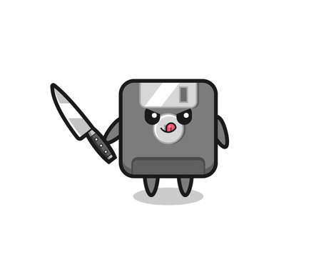 cute floppy disk mascot as a psychopath holding a knife , cute style design for t shirt, sticker, element