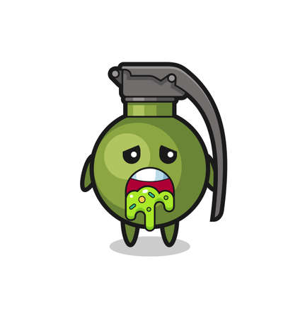 the cute grenade character with puke , cute style design for t shirt, sticker, element
