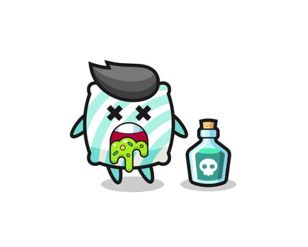 illustration of an pillow character vomiting due to poisoning , cute style design for t shirt, sticker, element