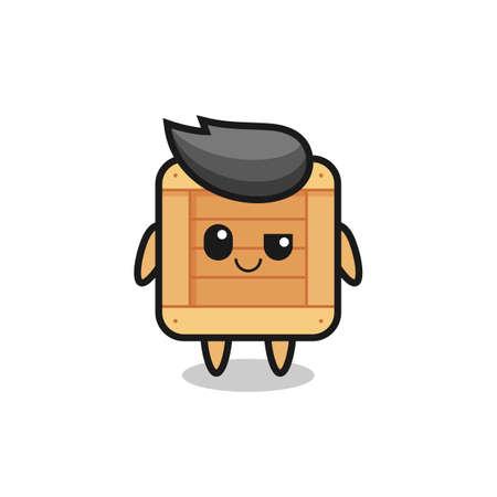wooden box cartoon with an arrogant expression , cute style design for t shirt, sticker, element Ilustración de vector