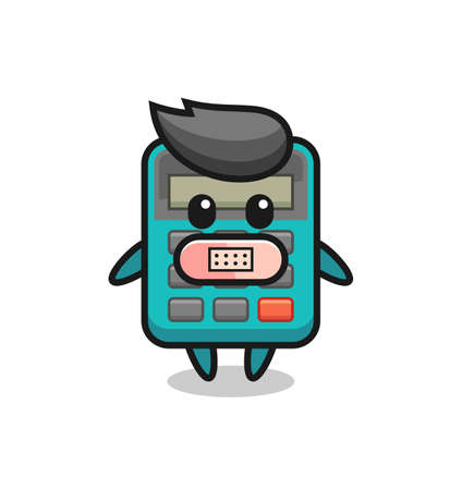 Cartoon Illustration of calculator with tape on mouth , cute style design for t shirt, sticker, element Ilustración de vector