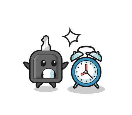 Cartoon Illustration of car key is surprised with a giant alarm clock , cute style design for t shirt, sticker, element