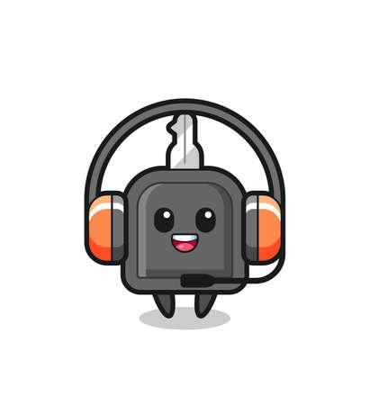 Cartoon mascot of car key as a customer service , cute style design for t shirt, sticker, element