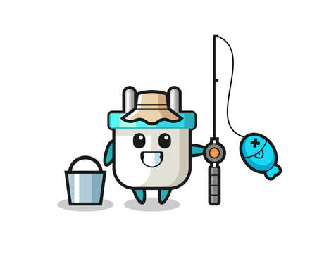 Mascot character of electric plug as a fisherman