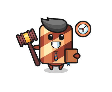 Mascot cartoon of wafer roll as a judge , cute style design for t shirt, sticker, logo element