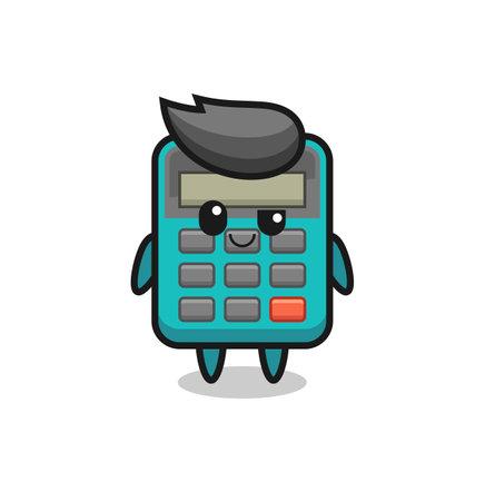 calculator cartoon with an arrogant expression , cute style design for t shirt, sticker, logo element