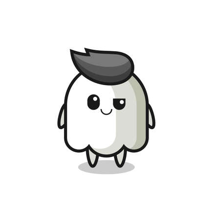 ghost cartoon with an arrogant expression , cute style design for t shirt, sticker, logo element