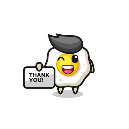 the mascot of the fried egg holding a banner that says thank you , cute style design for t shirt, sticker, logo element