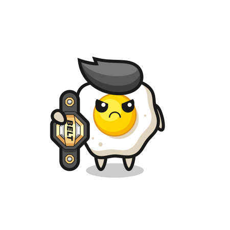 fried egg mascot character as a MMA fighter with the champion belt , cute style design for t shirt, sticker, logo element