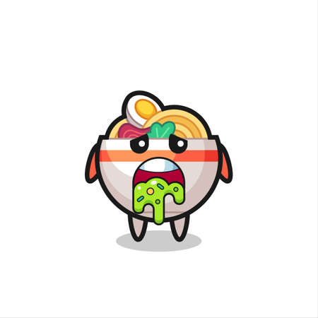 the cute noodle bowl character with puke , cute style design for t shirt, sticker, logo element