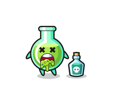 illustration of an lab beakers character vomiting due to poisoning , cute style design for t shirt, sticker, logo element