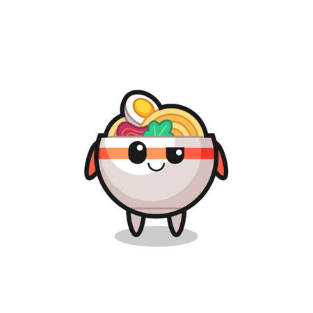 noodle bowl cartoon with an arrogant expression , cute style design for t shirt, sticker, logo element Logos