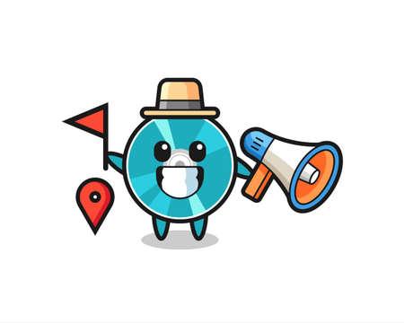Character cartoon of optical disc as a tour guide , cute style design for t shirt, sticker, logo element Logó