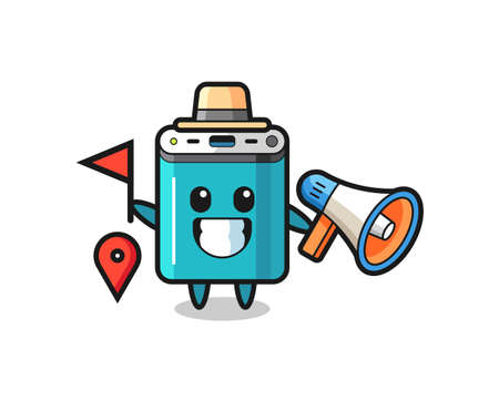Character cartoon of power bank as a tour guide , cute style design for t shirt, sticker, logo element